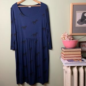 Boden Horses Navy Blue Dress 18 L